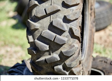 Used Off road tire tread with shallow depth of field