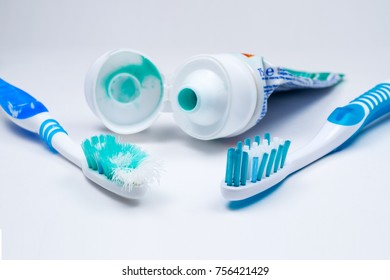 Used old and new toothbrush isolated on a white background