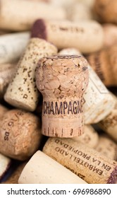 Used old vintage wine and champagne corks backgrounds. Vertical extreme macro crop