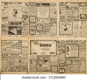 Used paper background. Old newspaper page with vintage advertising