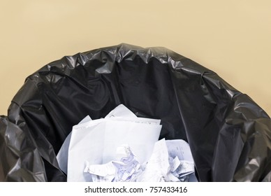 Used paper in the black waste bin,recycle in the control room,waste separation