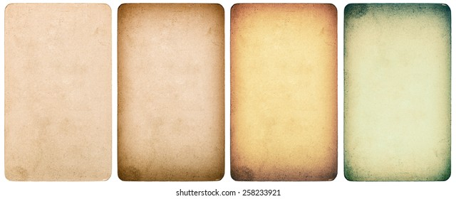 Used paper cardboard isolated on white background. Instagram style toned texture.