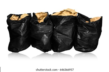 Used paper put in the black garbage bag for order to be recycled