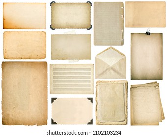 Used paper sheets with edges. Vintage book pages, cardboard, music notes, photo frame with corner, envelope isolated on white background