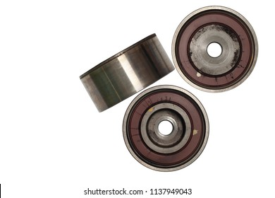 Used part and tool Idler Pulley in the car for in with Tensioner Control rod on isolate white background and clipping path.