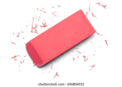 Used Pink Eraser in Use Isolated on White Background.