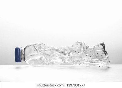 used plastic bottle for recycling on white background