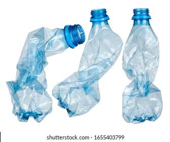 Used plastic bottles on white