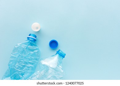 Used plastic bottles for recycling, conceptual image with copy space