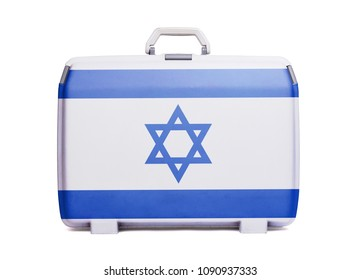 Used plastic suitcase with stains and scratches, printed with flag, Israel