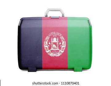 Used plastic suitcase with stains and scratches, printed with flag, Afghanistan