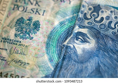 used polish 50 zloty banknote with king image. Symbolic creative photography for designers.