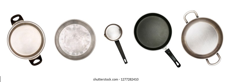 used pots and pans on white isolated, top view
