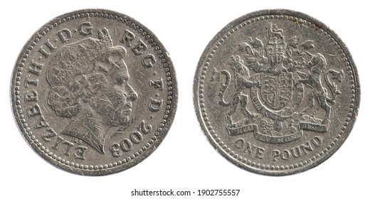 Used Pound Sterling coin photographed on both sides. Profile queen Elizabeth on obverse. Isolated on white