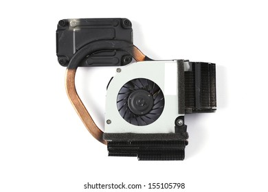Used Processor notebook heat sink cooler fan isolated on white background