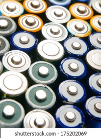 Used rechargeable batteries on white background