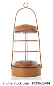 Used red vintage lantern isolated over white background