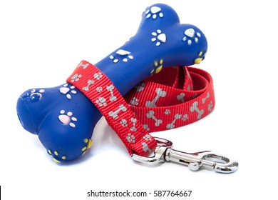 A used rubber bone and a dog leash