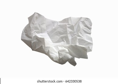 used screwed paper tissue isolated on white background with  clipping path.