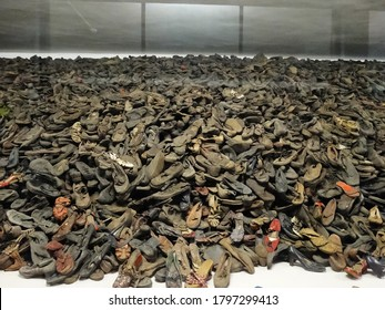 Used shoes left by Auschwitz concentration camp victims in Auschwitz, Poland. Auschwitz was complex of concentration and extermination camps operated by Nazi Germany during World War II. 2017-6