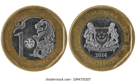 Used singapore one dollar, 2014. Modern bi-metal coin with lions isolated on white.