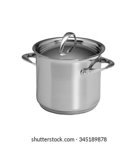 Used stock pot isolated on white