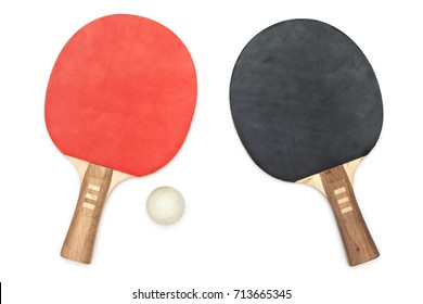 Used Table Tennis / Ping-Pong Paddles / Rackets, isolated on White background, with one old ball