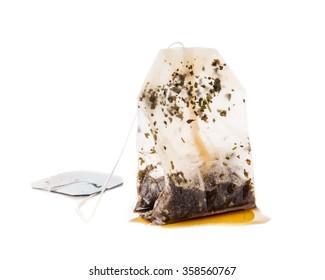 Used Tea Bag on White Background