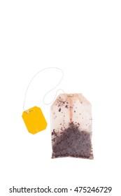 used tea bag on white background isolated