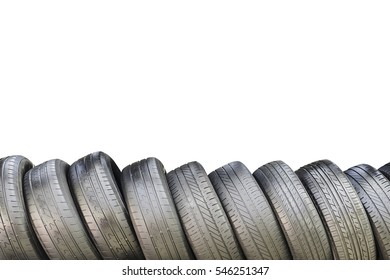 Used Tires isolated on white background.