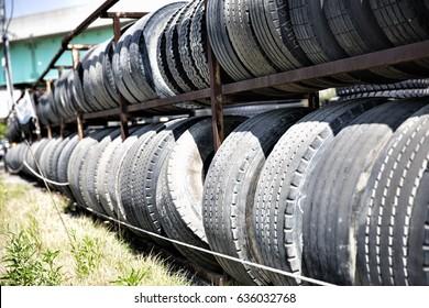 Used tires on display