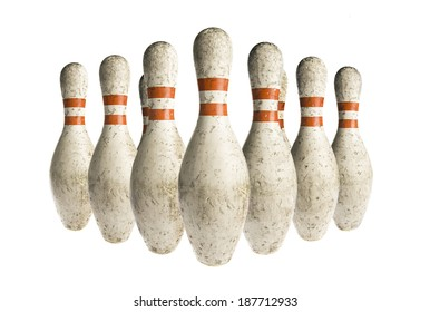 Used vintage bowling pins isolated on white