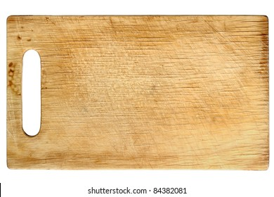 Used wooden chopping board isolated on white background
