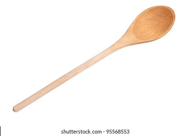 Used wooden spoon isolated