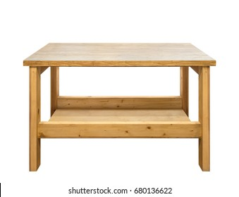 Used wooden workbench. Woodworking workshop table isolated on white background.
