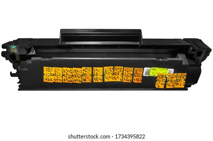 Used worn laser jet printer cartridge with traces of refills stickers need recycling. isolated on white background.