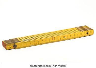 used yardstick isolated on white background