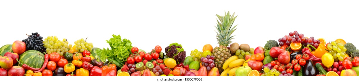 Useful fruits and vegetables isolated on white background. Glass skinali.