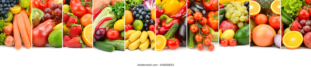 Useful fruits, vegetables and sweet berries isolated on white background.