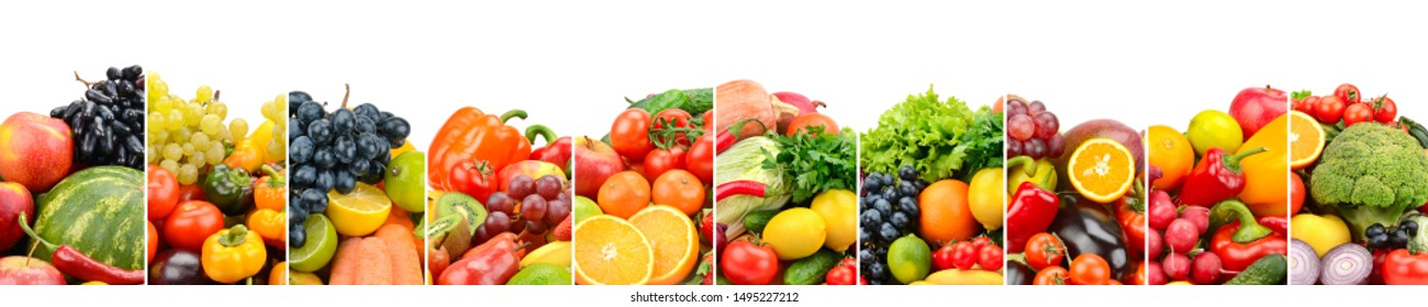 Useful fruits, vegetables and sweet berries isolated on white background. Glass skinali.