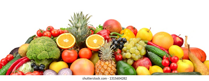 Useful tasty vegetables, fruits and berries isolated on white background. Copy space