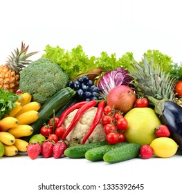 Useful tasty vegetables, fruits and berries isolated on white background.