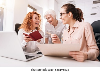 Useful working hours. Active involved creative businesswomen smiling and sitting in the office in front of the laptop while working and sharing opinions