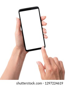 User holding modern smartphone with white screen in hand isolated on a white background
