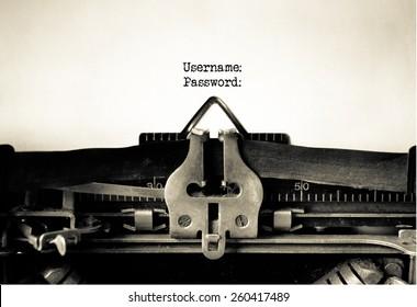 Username and Password written on vintage typewriter