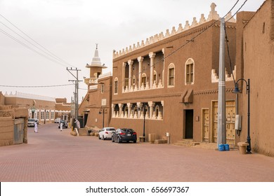Ushaiger, Ar Riyadh, KSA - May 12, 2011: Restored buildings made from mud in the Ushaiger's main street, KSA. Ushaiger is one of the Heritage Villages in the Kingdom of Saudi Arabia