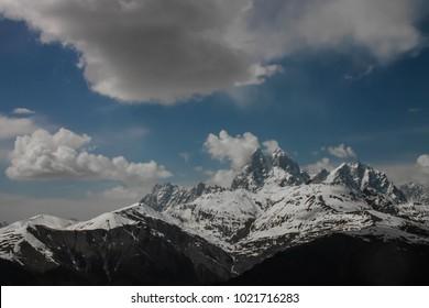 Ushba peak with landscape