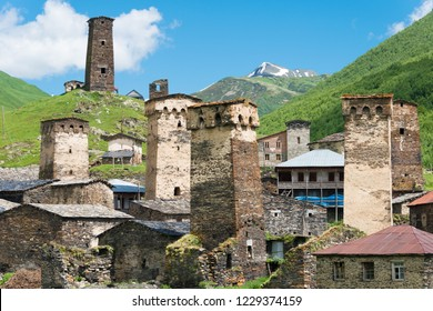 Ushguli, Georgia - Jun 21 2018: Svan Towers at Ushguli village in Samegrelo-Zemo Svaneti, Georgia. It is part of the UNESCO World Heritage Site - Upper Svaneti.
