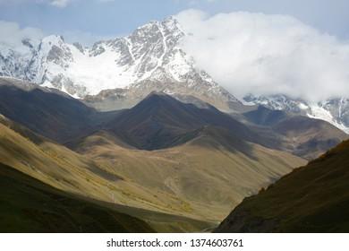 Ushguli, Georgia - October 3, 2018: Village of Ushguli in Svaneti region