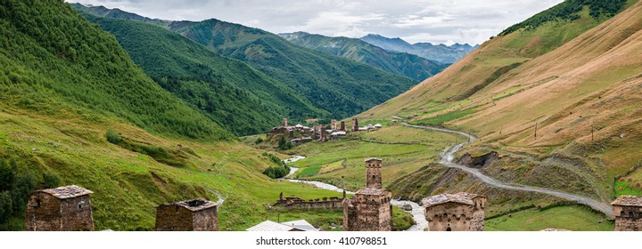 Ushguli village in Caucasus Upper Svaneti, Georgia (Europe)